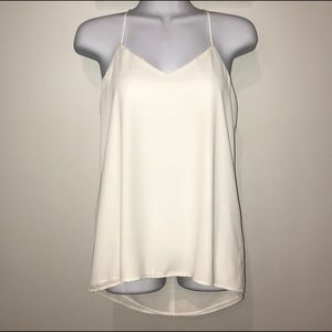 Express x-small off-white layered tank blouse